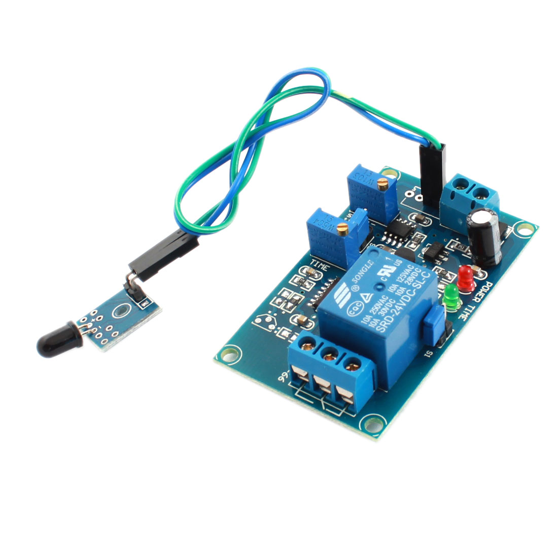 DC 24V 1 Channel Fire Flame Detection Sensor Infrared Reflection Receive Time Delay Relay Module Green