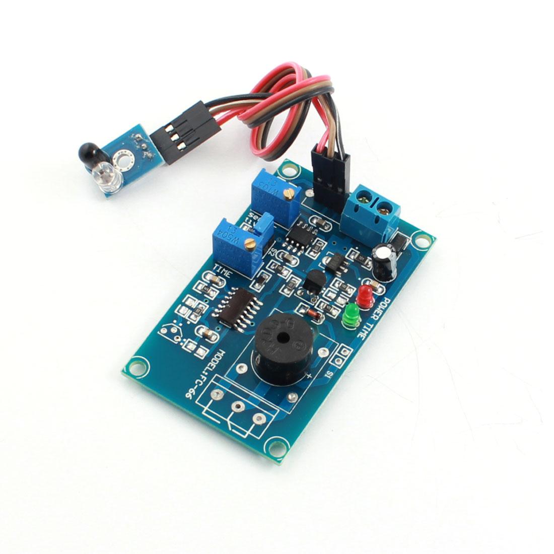 FC-66 DC12V 0-20S Time Delay Infrared Sensor Buzzer Alarm PCB Circuit Module Blue