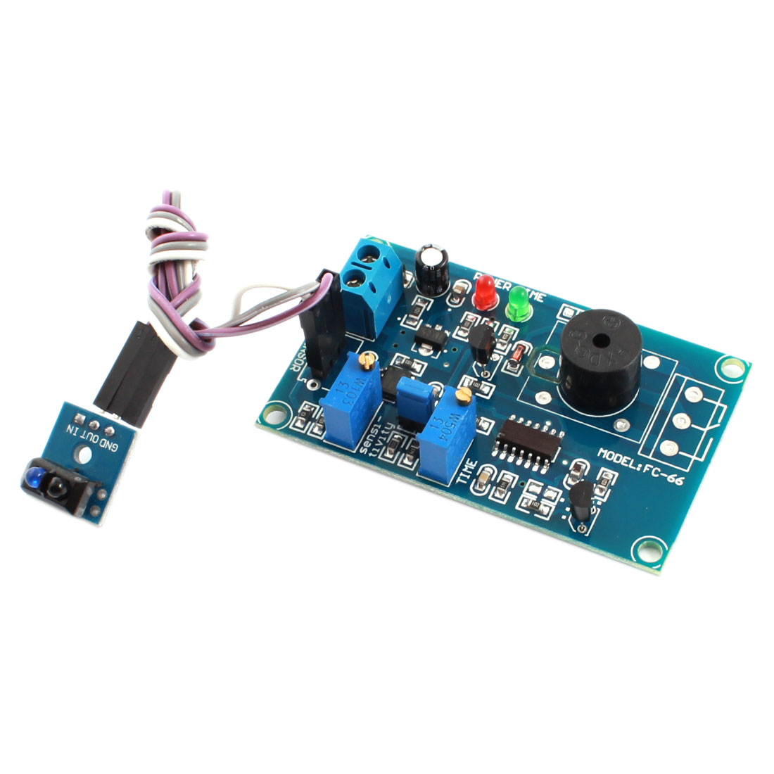 FC-66 TCRT5000 DC 12V 0-20S 0-3cm Adjustable Light Reflection Infrared Sensor Alarm Buzzer Time Delay PCB Module