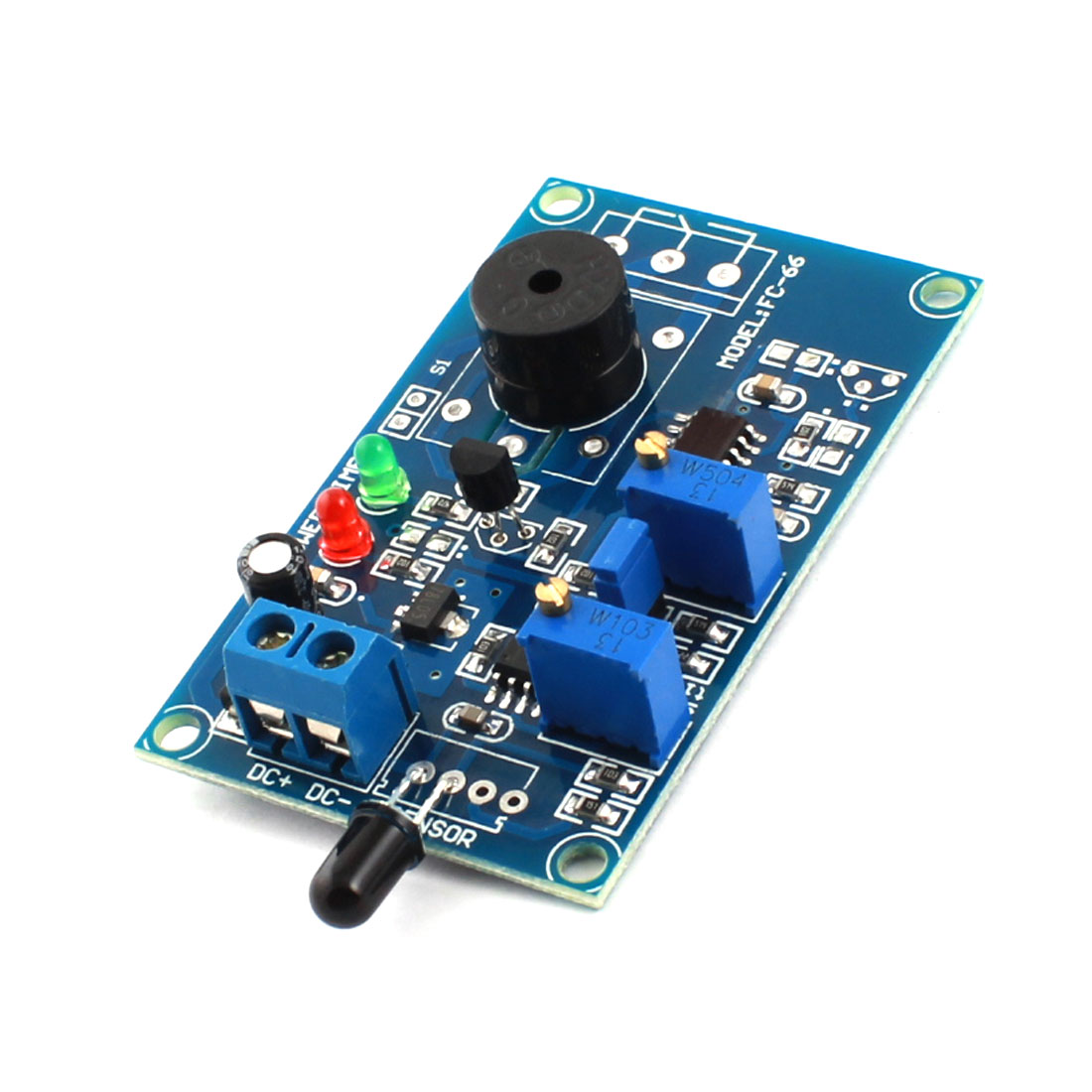 FC-66 DC12V Flame Sensor Fire Fighting Light Detection Alarm Buzzer Delay Module Green