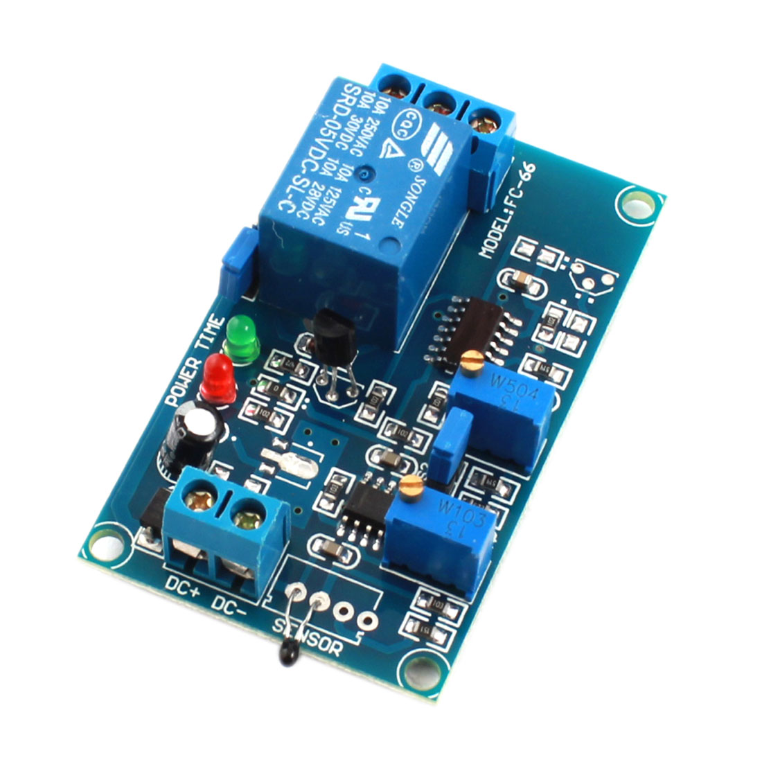DC5V 2-LED Lamp 1 Way High Temperature Trigger Thermosensitive Time Delay PCB Board Relay Module Blue