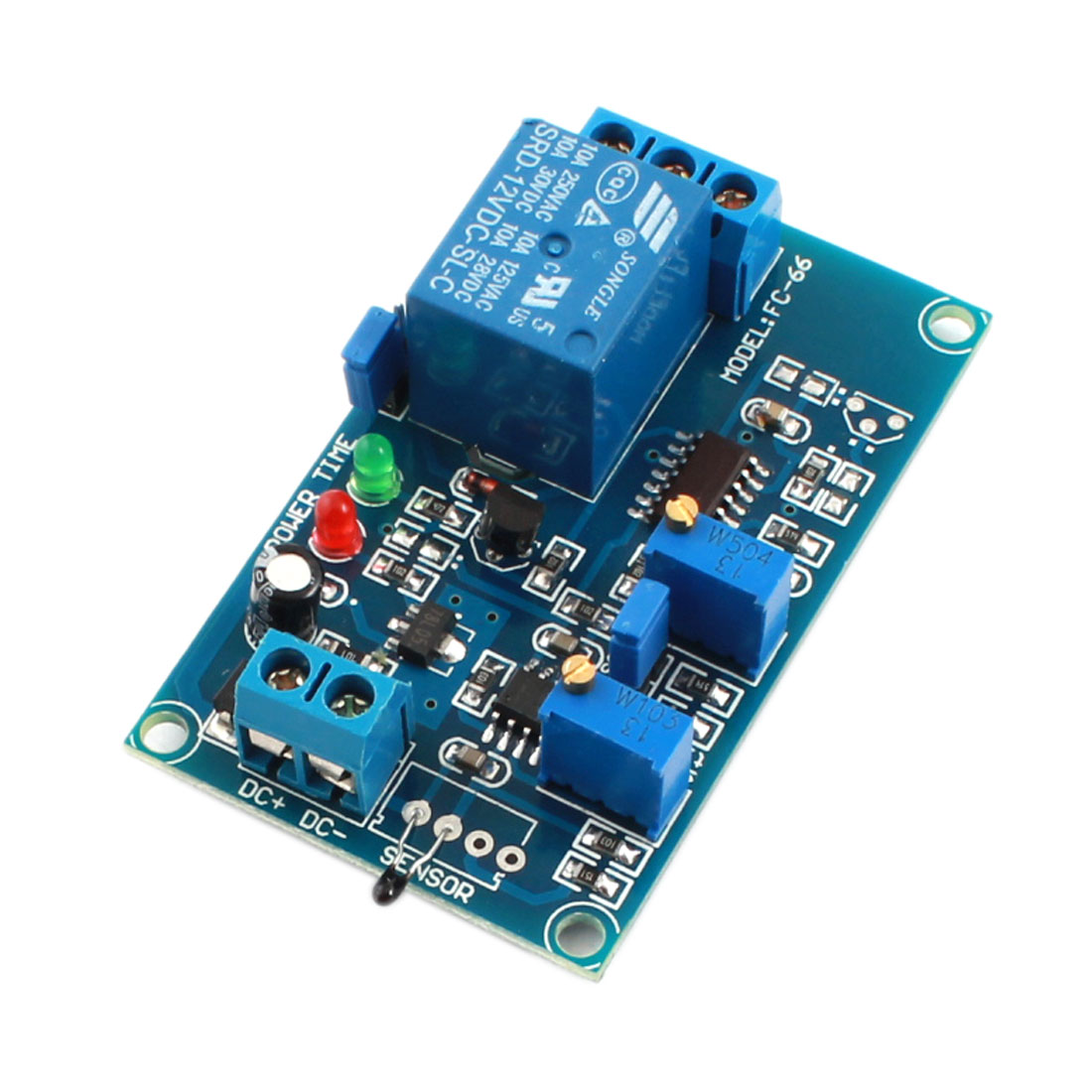 DC12V 2-LED Lamp 1 Way High Temperature Trigger Thermosensitive Time Delay PCB Board Relay Module Blue