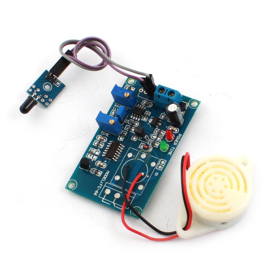 FC-66 DC24V Flame Sensor Detection Infrared Reciever Buzzer Delay PCB Circuit Module Green