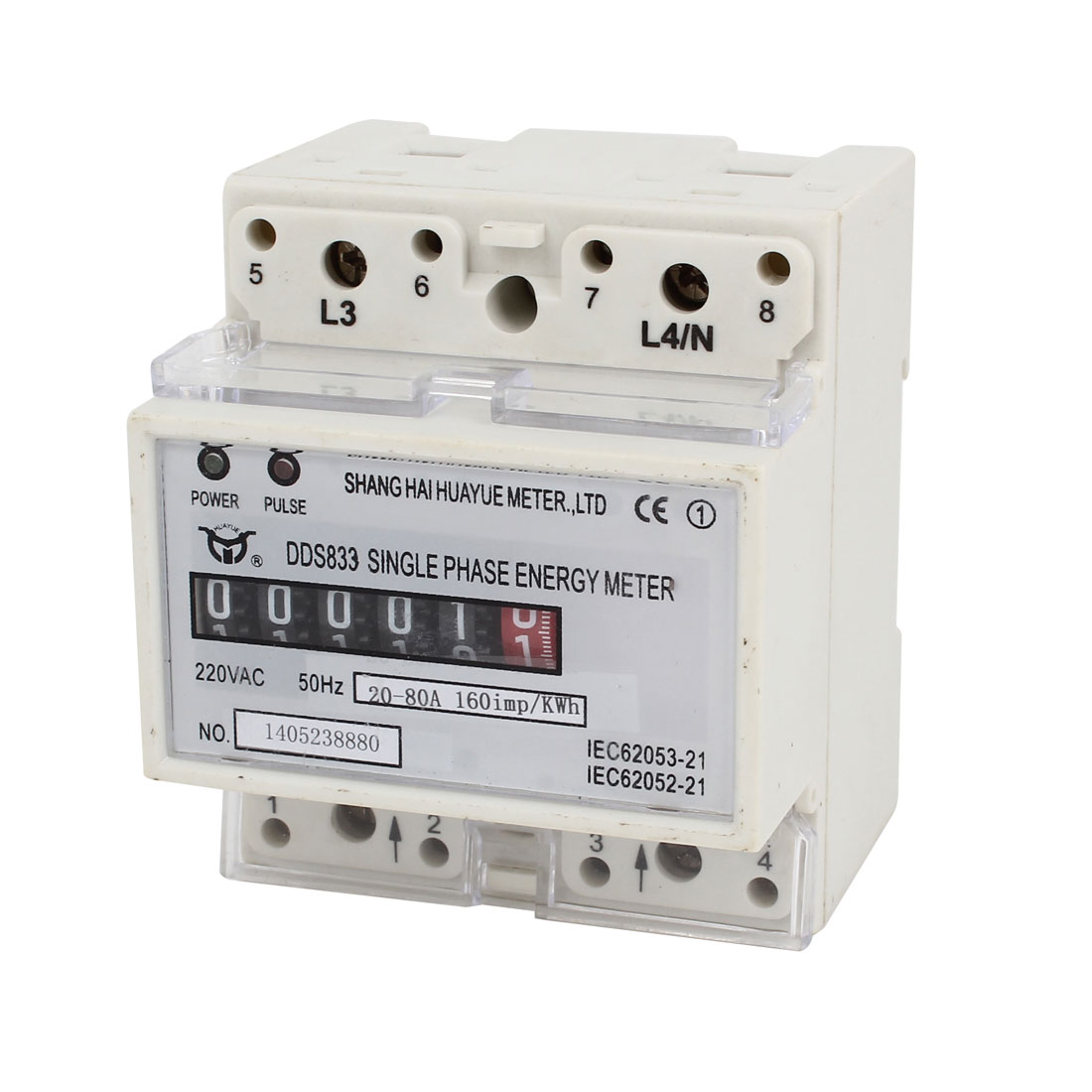 DDS833 Wall Mounting 0-99999.9 6-Digits Single Phase Kilowatt Hour Watt-Hour Energy Meter AC220V 20-80A