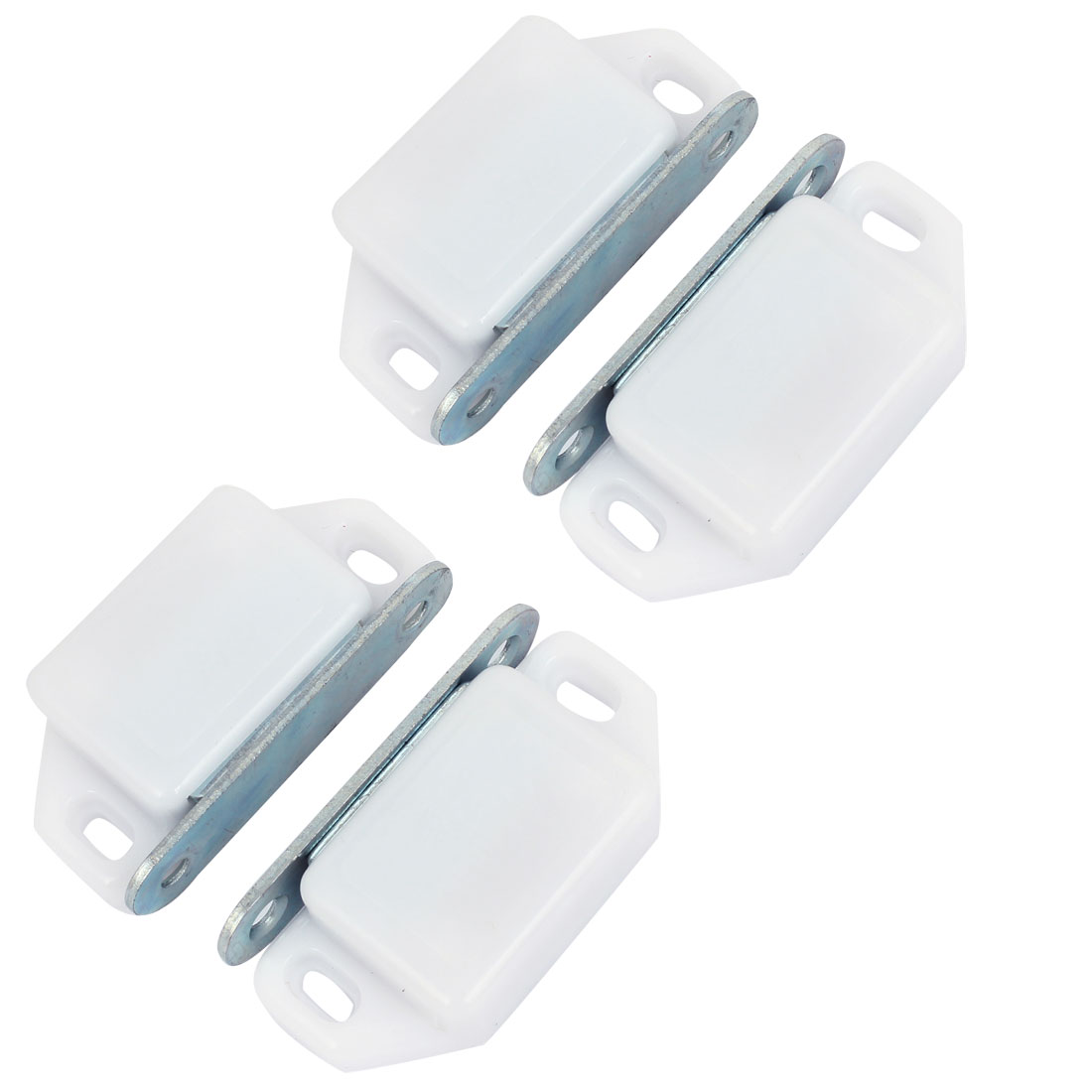 4 Pcs White Plastic Shell Metal Plate Cupboard Door Magnetic Catch 2.2""