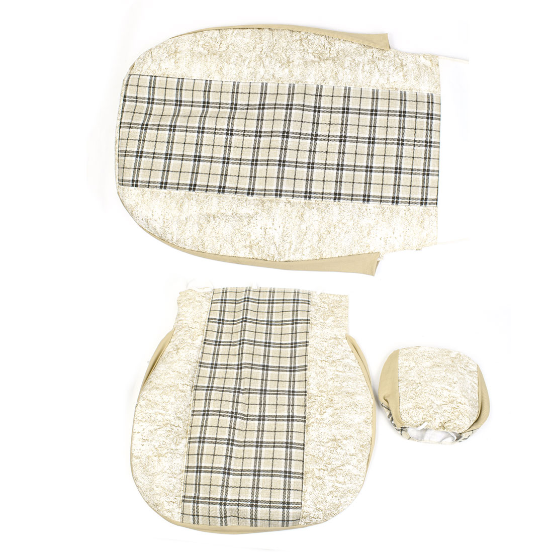 3 in 1 Beige Check Pattern Nylon Faux Leather Vehicles Car Seat Cover