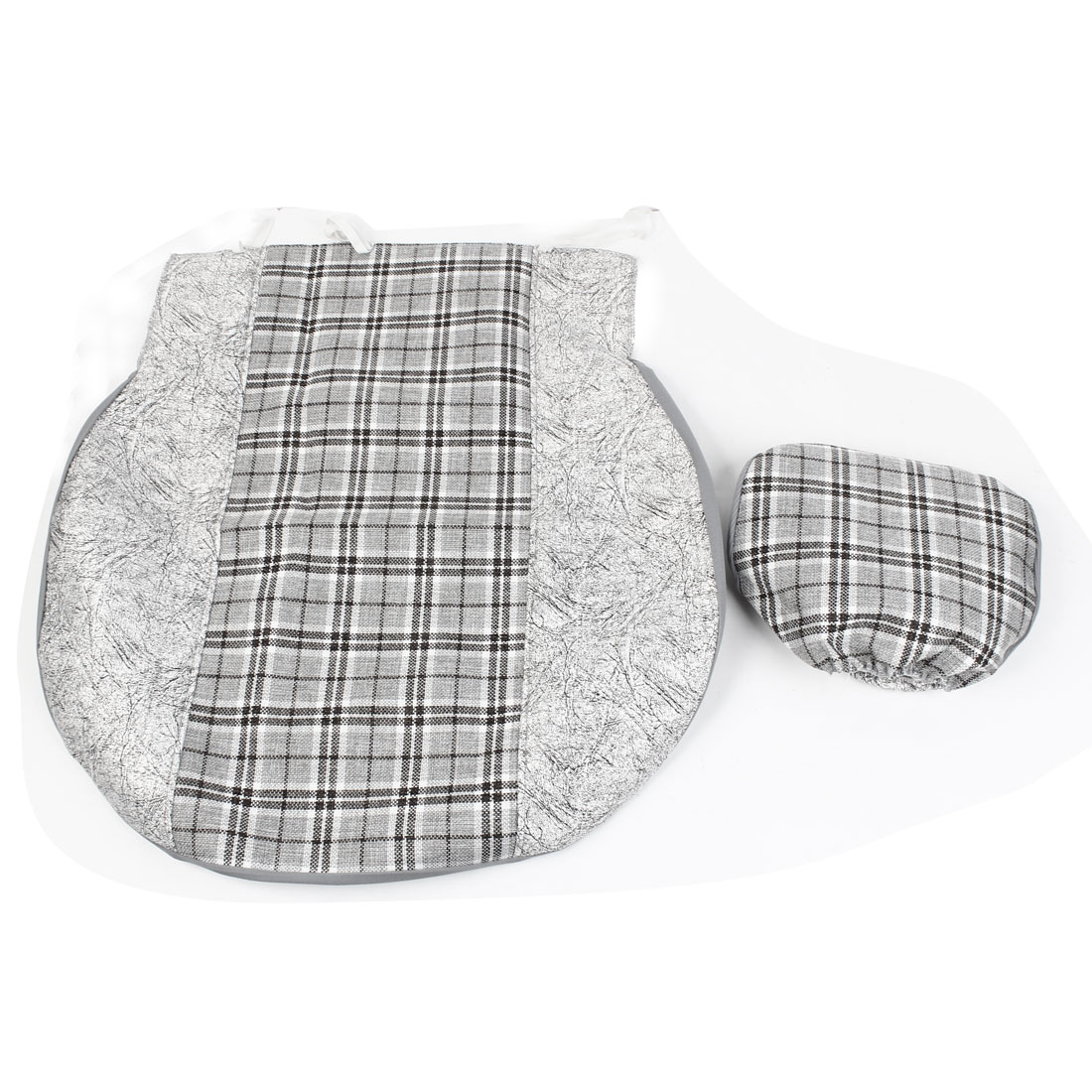 3 in 1 Auto Car Gray Check Pattern Nylon Faux Leather Seat Cover Set