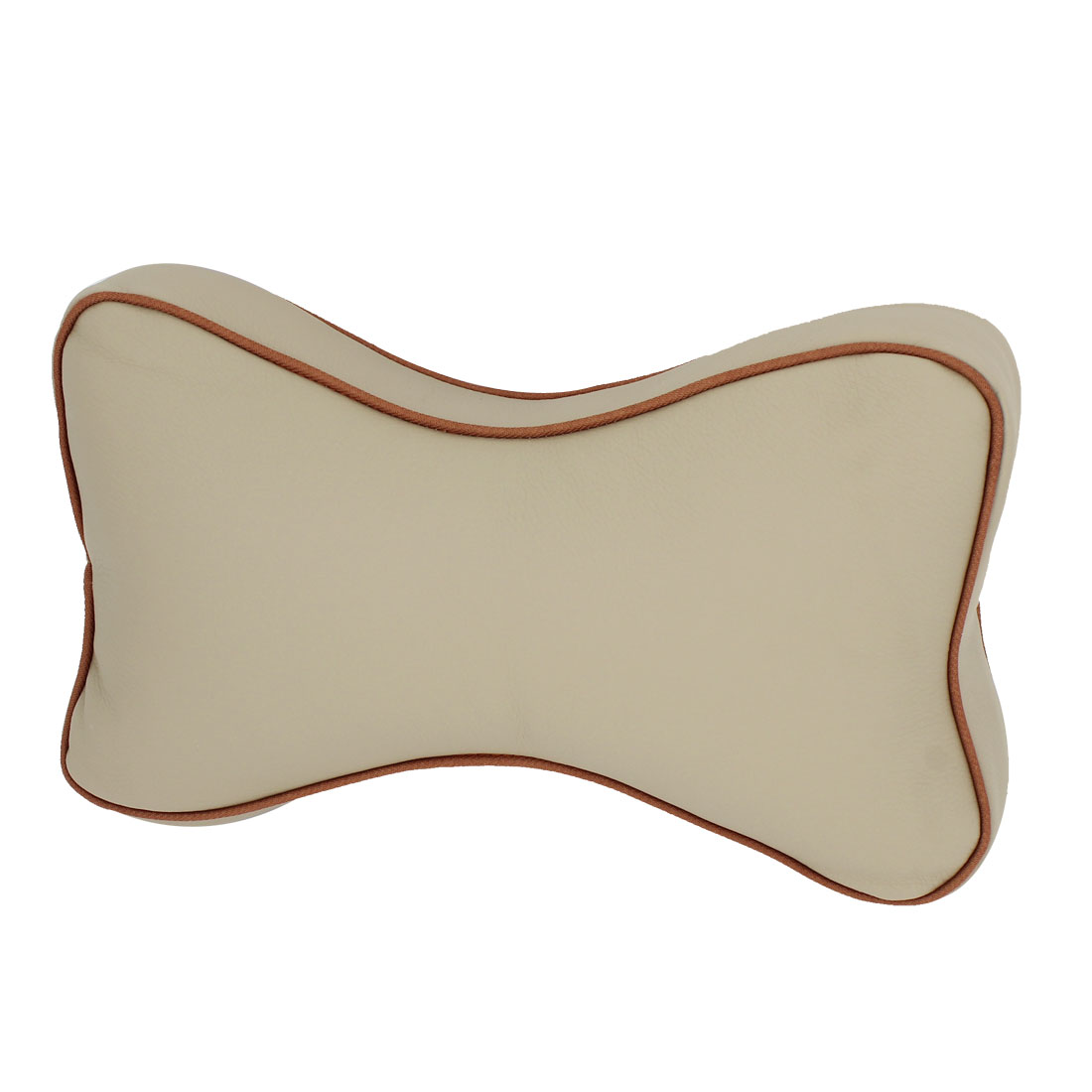 Car Beige Soft Faux Leather Bone Shape Sponge Padded Neck Pillows
