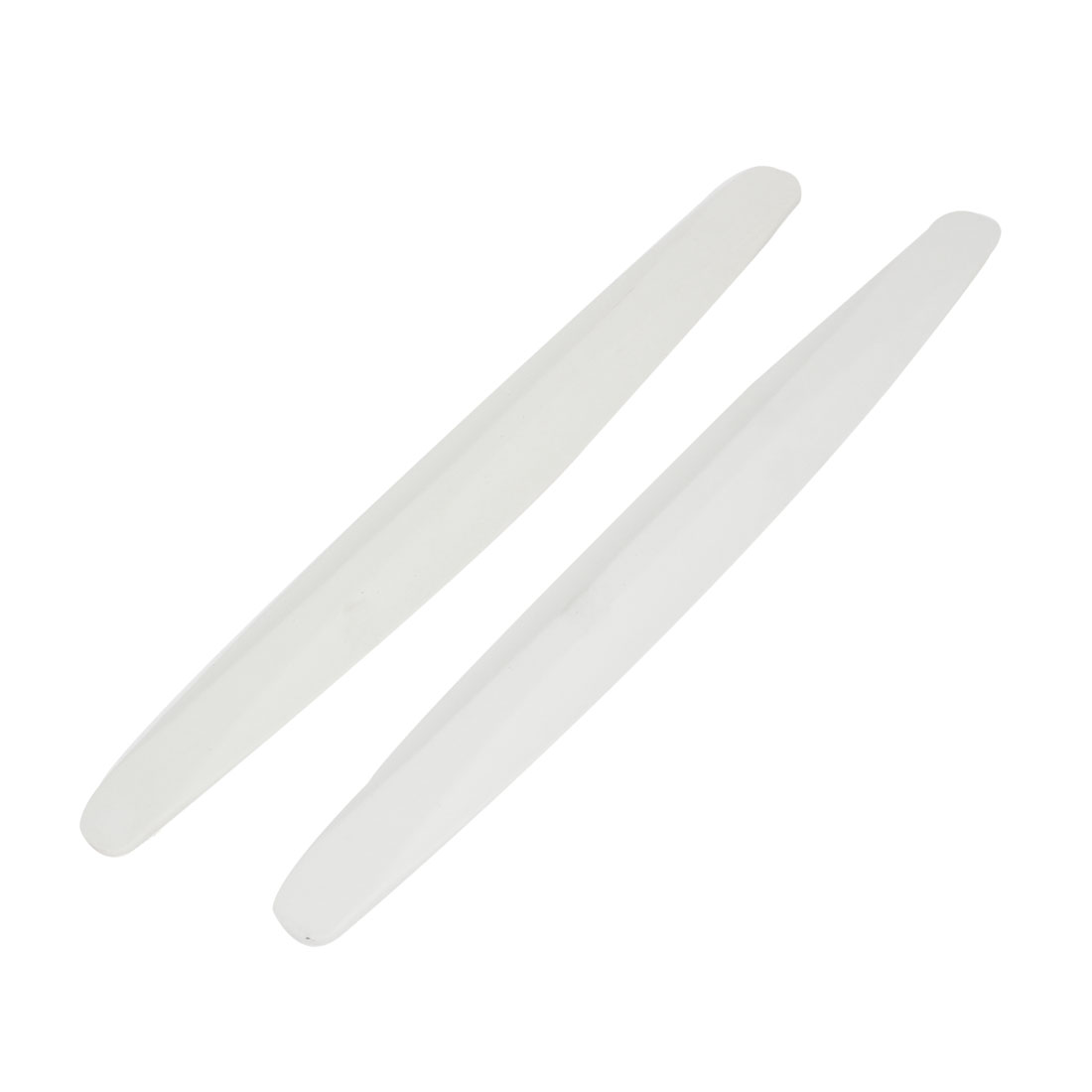 Pair White Plastic Auto Car Door Bumper Guard Protector Sticker