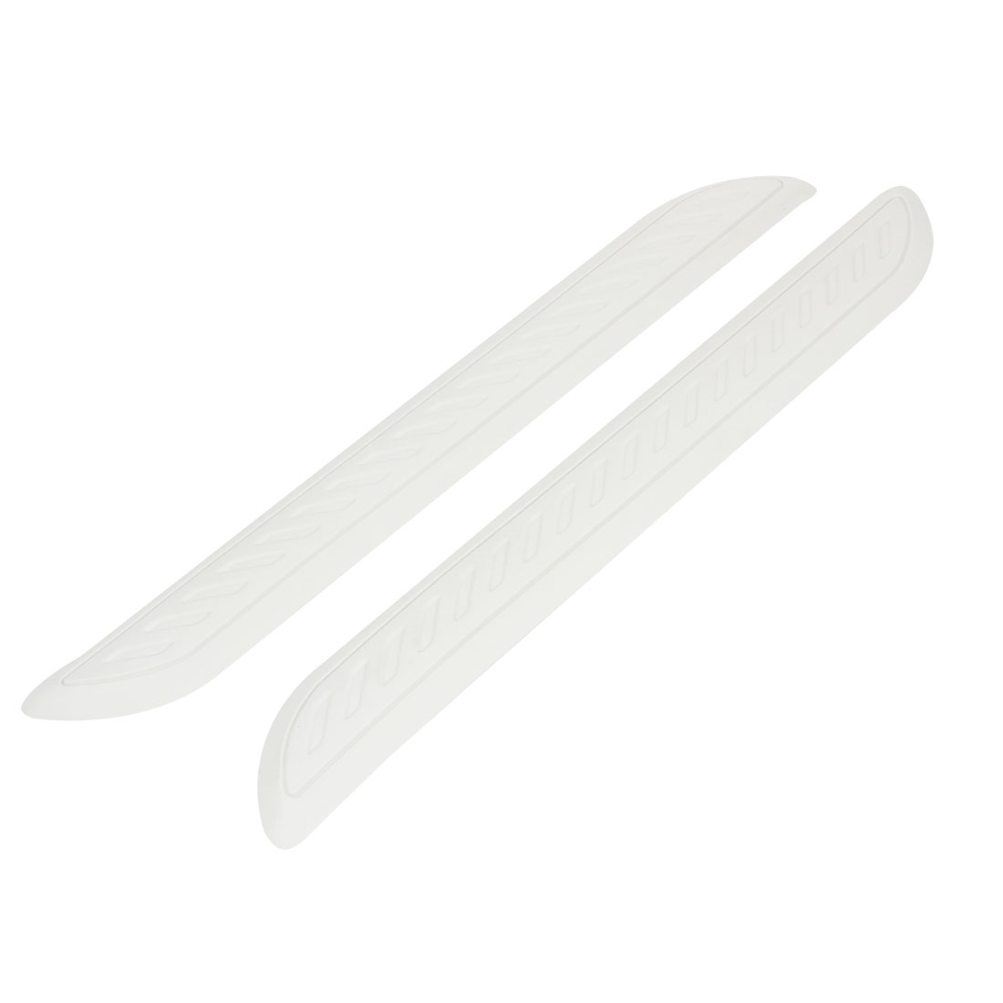 Pair Car White Plastic Front Rear Bumper Guard Protector 41cm Length
