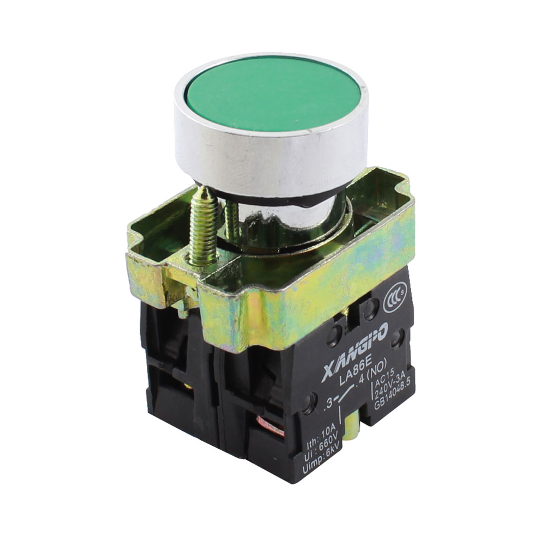 AC240V 3A NC + NO Green Head Momentary Round Push Button Switch LA86E
