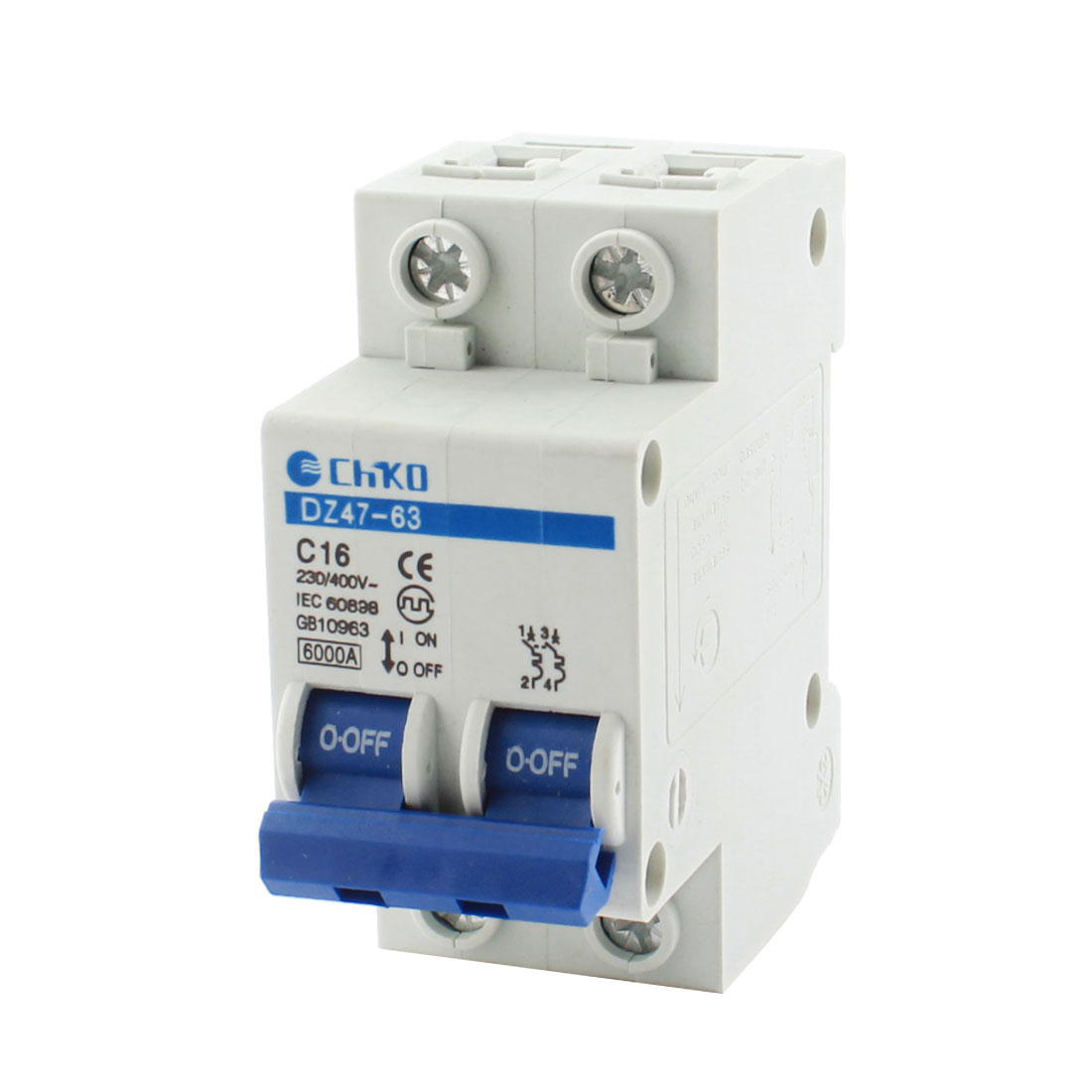 6000A Breaking Capacity 2 Pole Overload Miniature Circuit Breaker AC 230/400V 16Amp DZ47-63 C16
