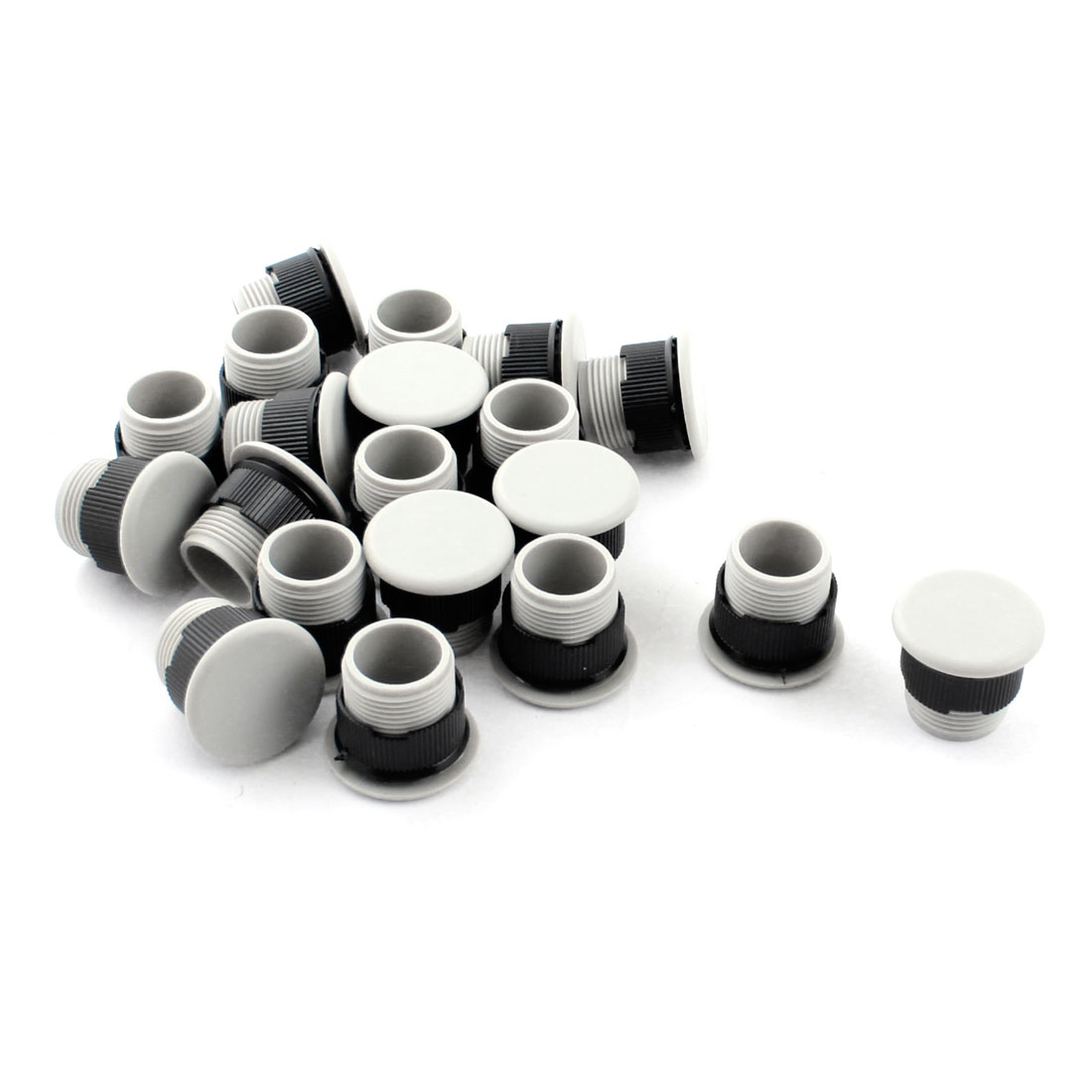 20Pcs 16mm Dia Mounting Hole Pilot Lamp Push Button Switch Plug Gray Black
