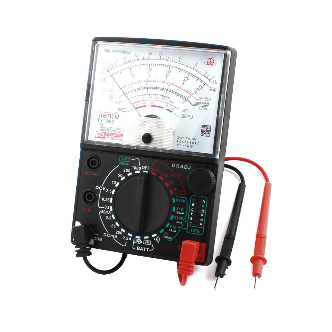 TY-960 Ohm Ampere Volt Diode Measuring Analog Multitester Multimeter w Leads