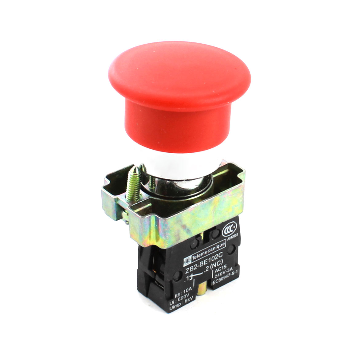ZB2-BE102C Emergency Stopping Momentary Red Sign Push Button Switch NC SPST AC240V 3A