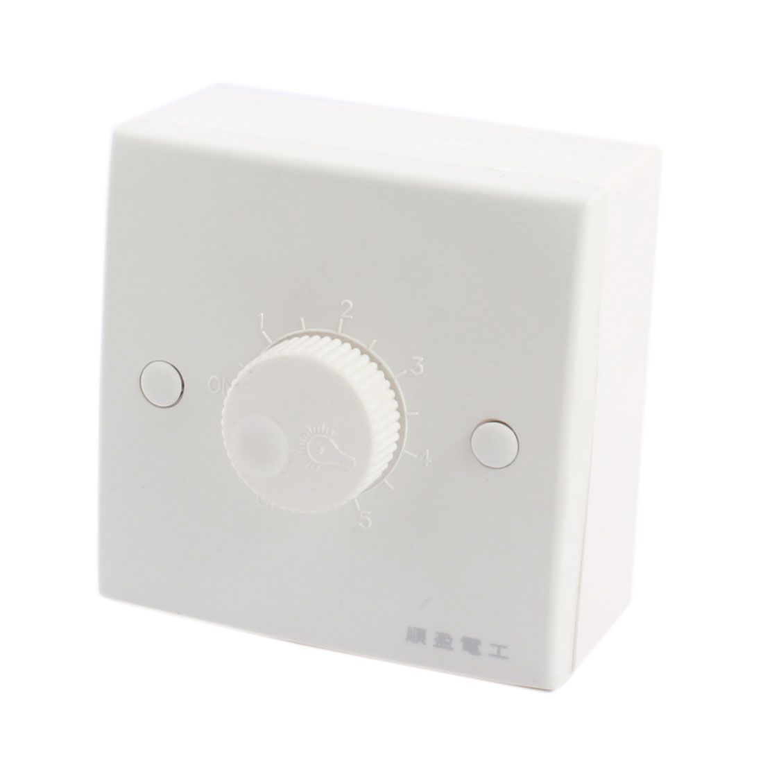 Wall Mounting Plastic Shell 5 Gear Rotary Knob Dimmer Switch White AC 200V-250V