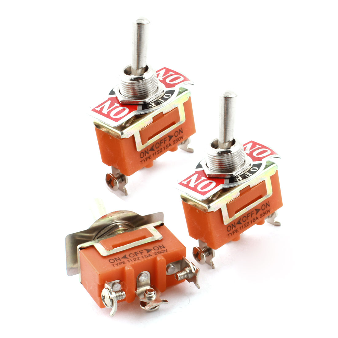 3PCS AC250V 15A ON-OFF-ON 3 Screw Terminals Three Position SPST Locking Toggle Switch