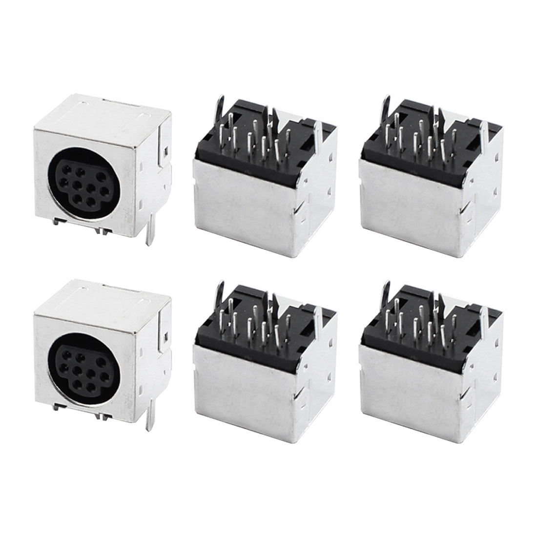 6 Pcs Metal Shell DIN 9 Pin Female Connector S-video Adapter Sockets
