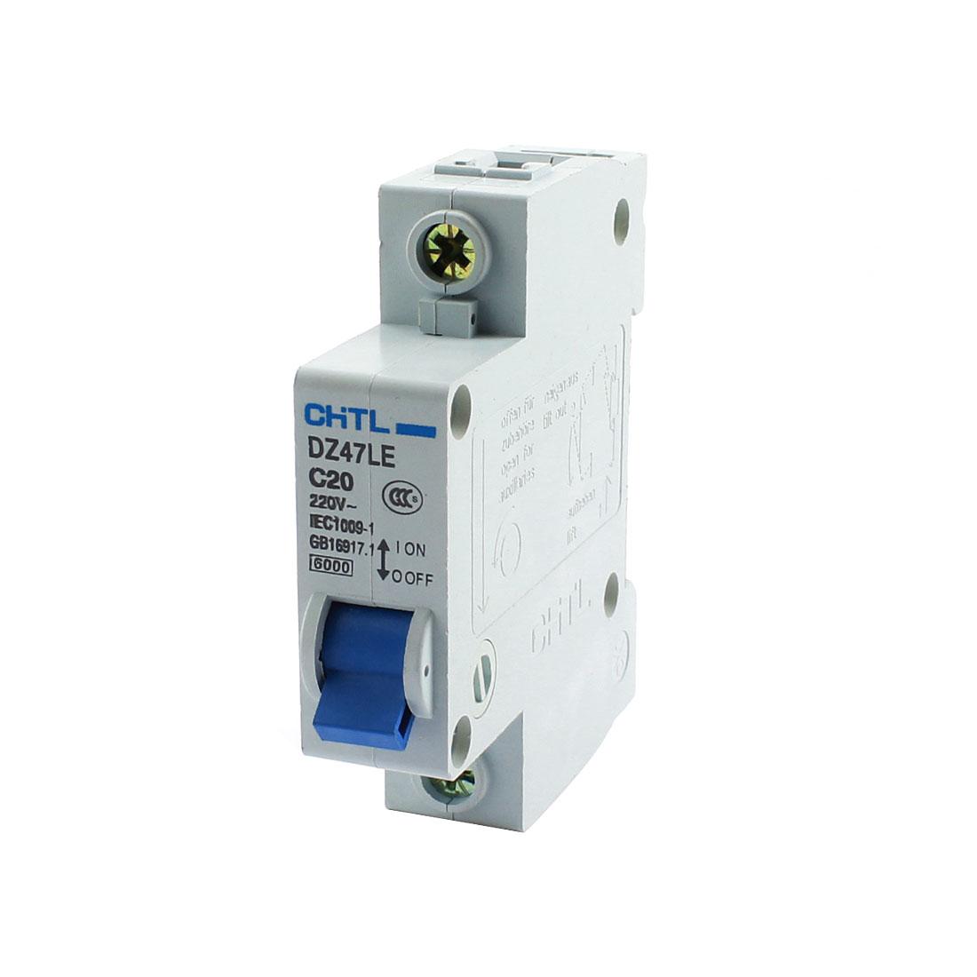 DZ47LE C20 1P DIN Rail Mount MCB Miniature Circuit Breaker 6000A 20A AC220V