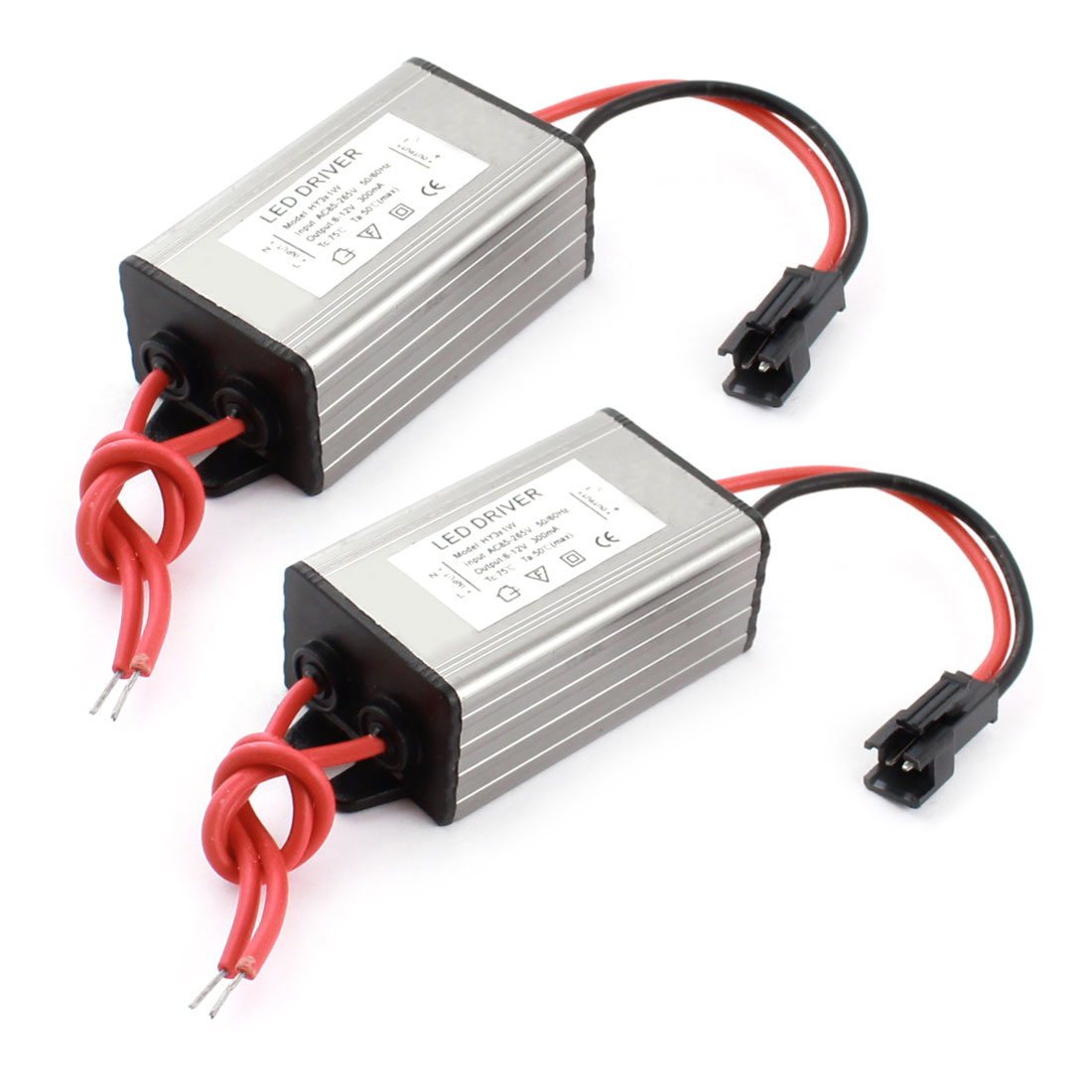 2 Pcs AC 85-265V DC 6-12V Waterproof 3x1W LED Driver Power Supply Converter