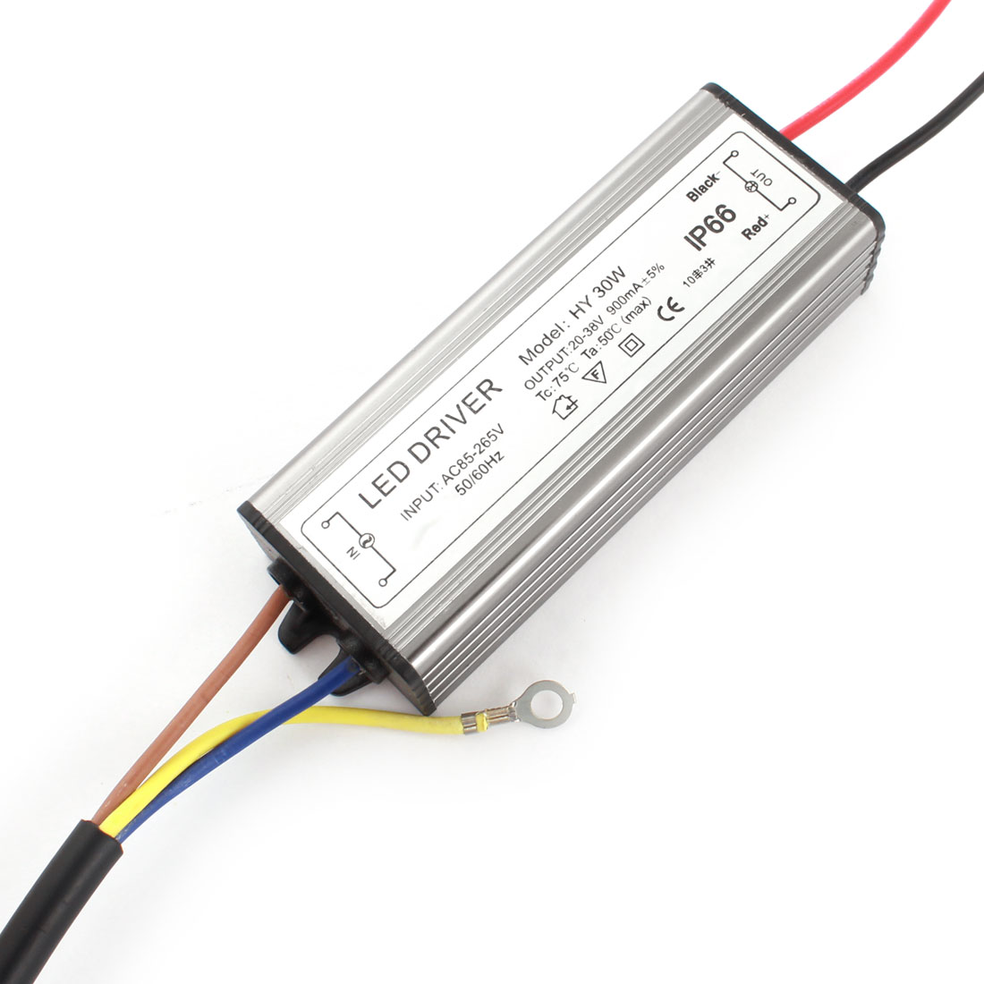 AC 85-265V to DC 20-38V Aluminum Waterproof High Power LED Driver 30W Gray