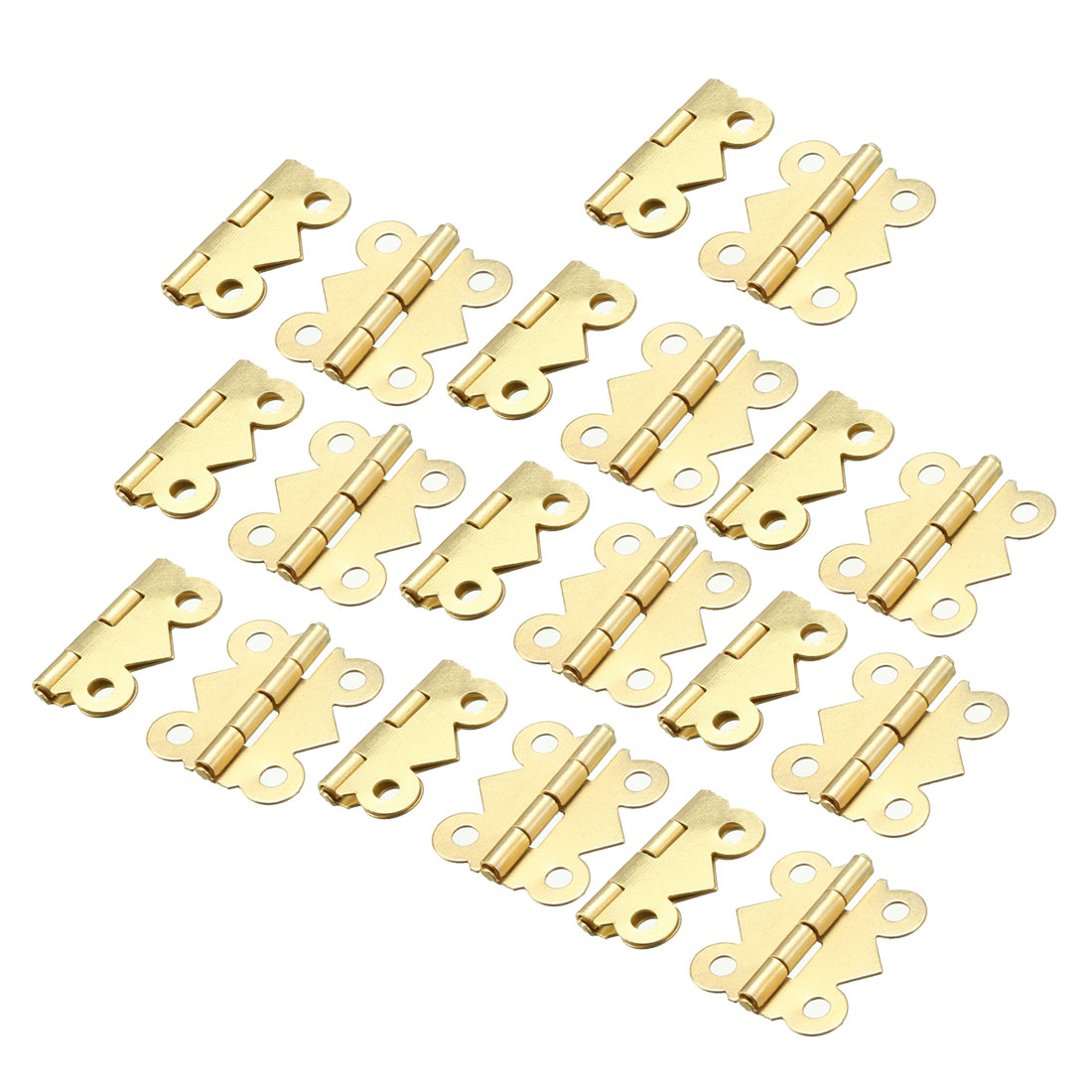20 Pcs Brass Tone Rotatable Window Drawer Door Butt Hinges 2cm Long