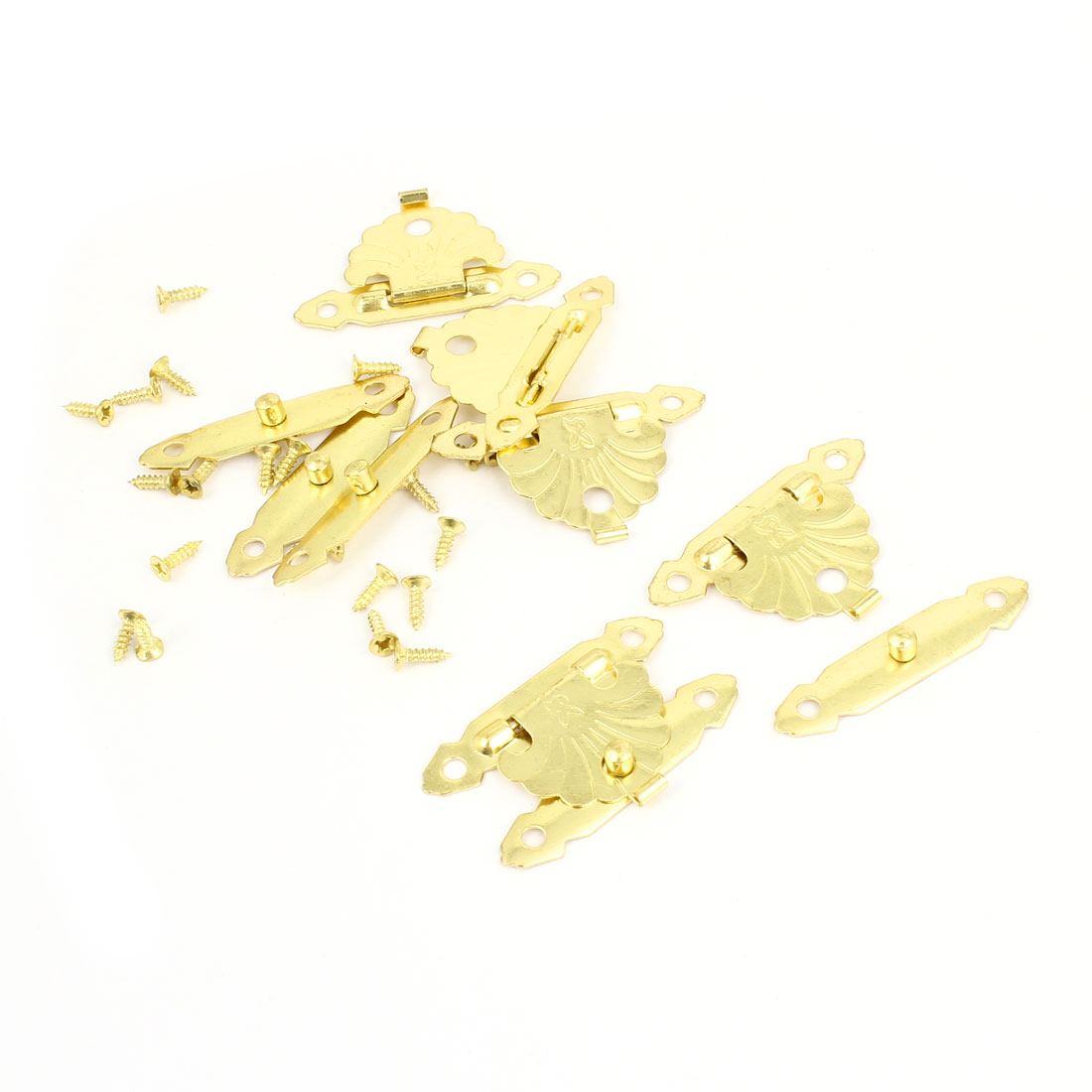 "5 Pcs Antique Wood Box Latch Sets Case Locking Hinge Gold Tone 1.5"" Long"
