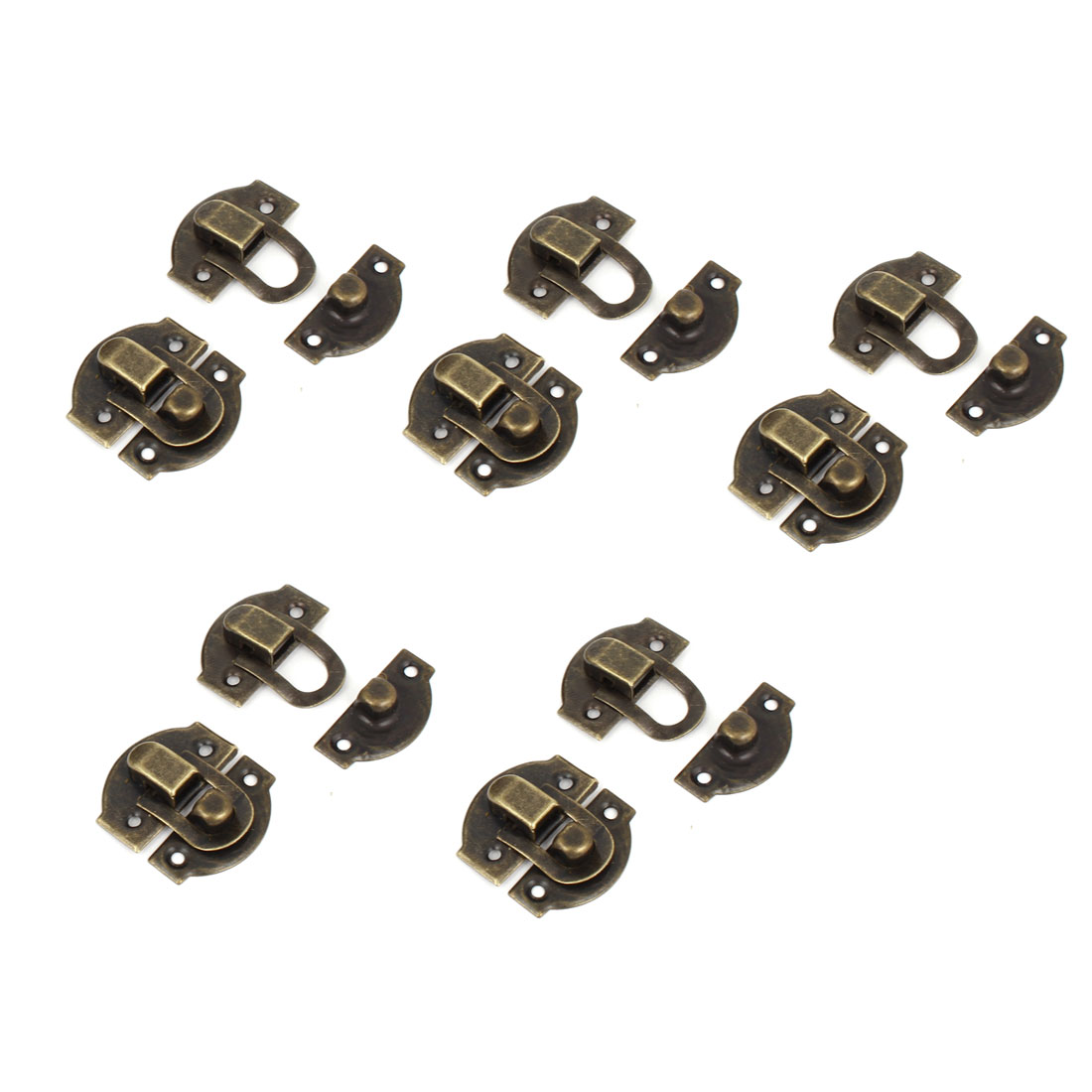 10 Pcs Antique Wood Box Latch Sets Case Lock Hinge Bronze Tone 27mm Long
