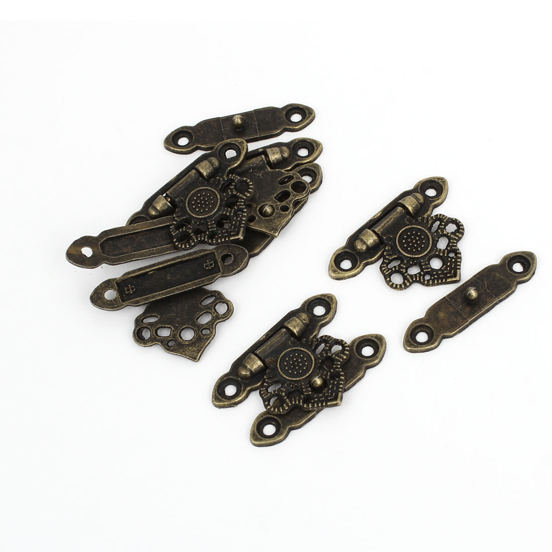 5 Pcs Antique Wood Box Latch Sets Case Locking Hinge Bronze Tone 3.5cm Long