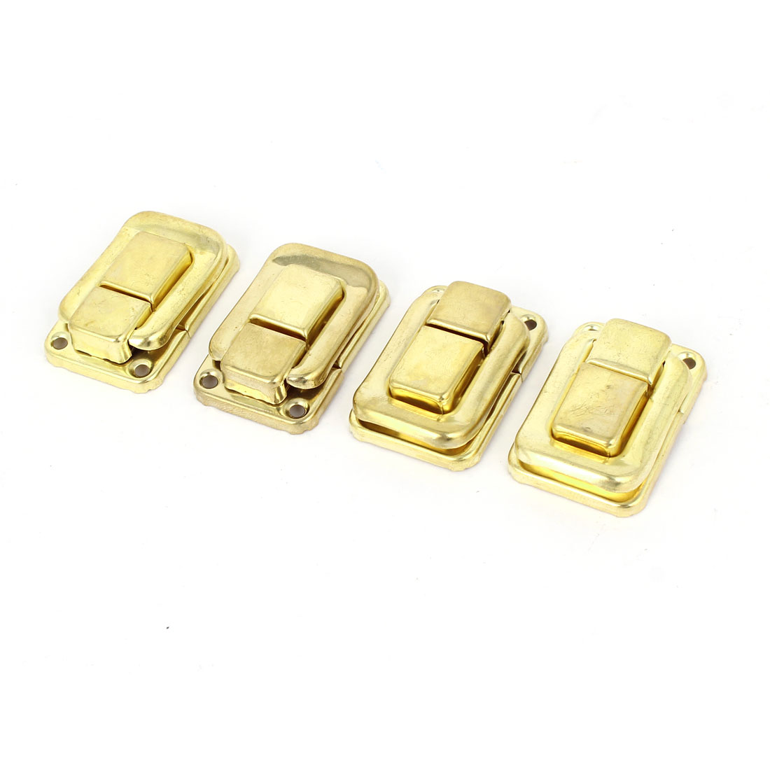 4 Pcs Necklace Box Case Lock Hook Hinge Latch Hasp Sets Gold Tone w Screws