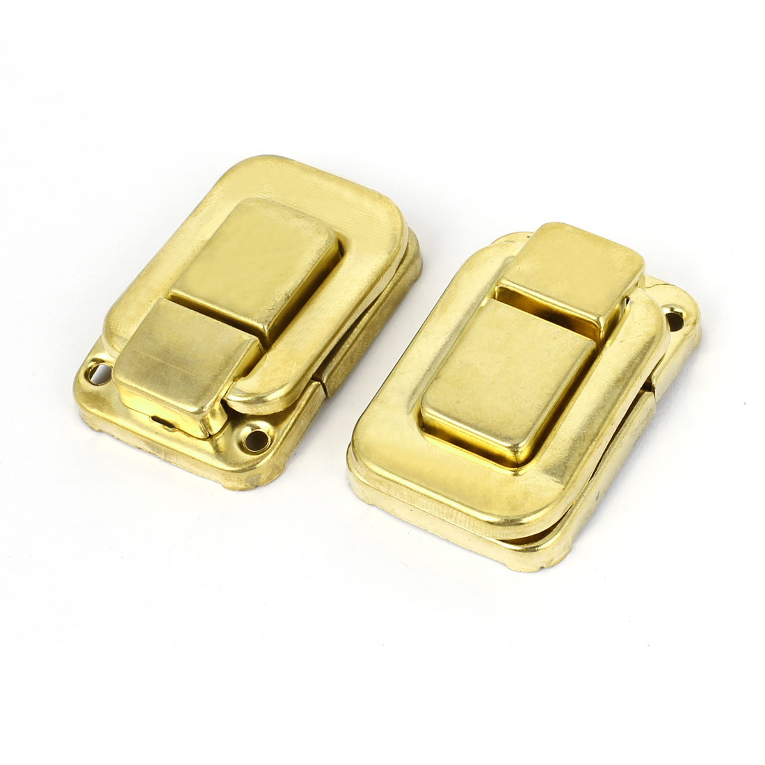 2 Pcs Necklace Box Case Lock Hook Hinge Latch Hasp Sets Gold Tone w Screws
