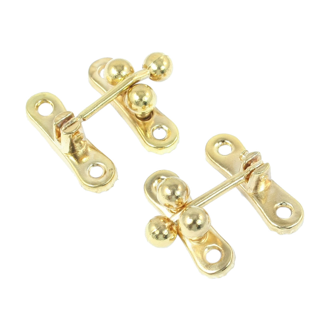 Hardware Metal Locking Hasp Wooden Gift Box Buckle Gold Tone 2pcs