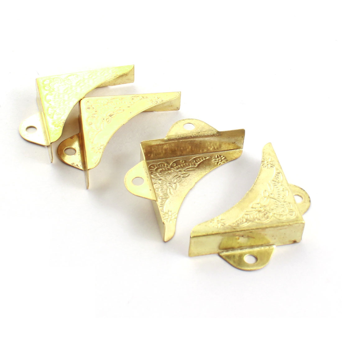 4pcs Right Angle Hardware Furniture Closet Cabinet Corner Protector Bracket Gold Tone