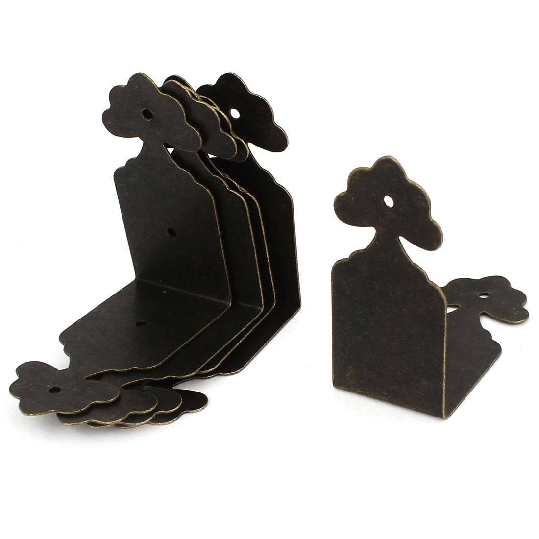 8pcs Right Angle Hardware Furniture Closet Cabinet Edge Corner Protector Bracket Bronze Tone