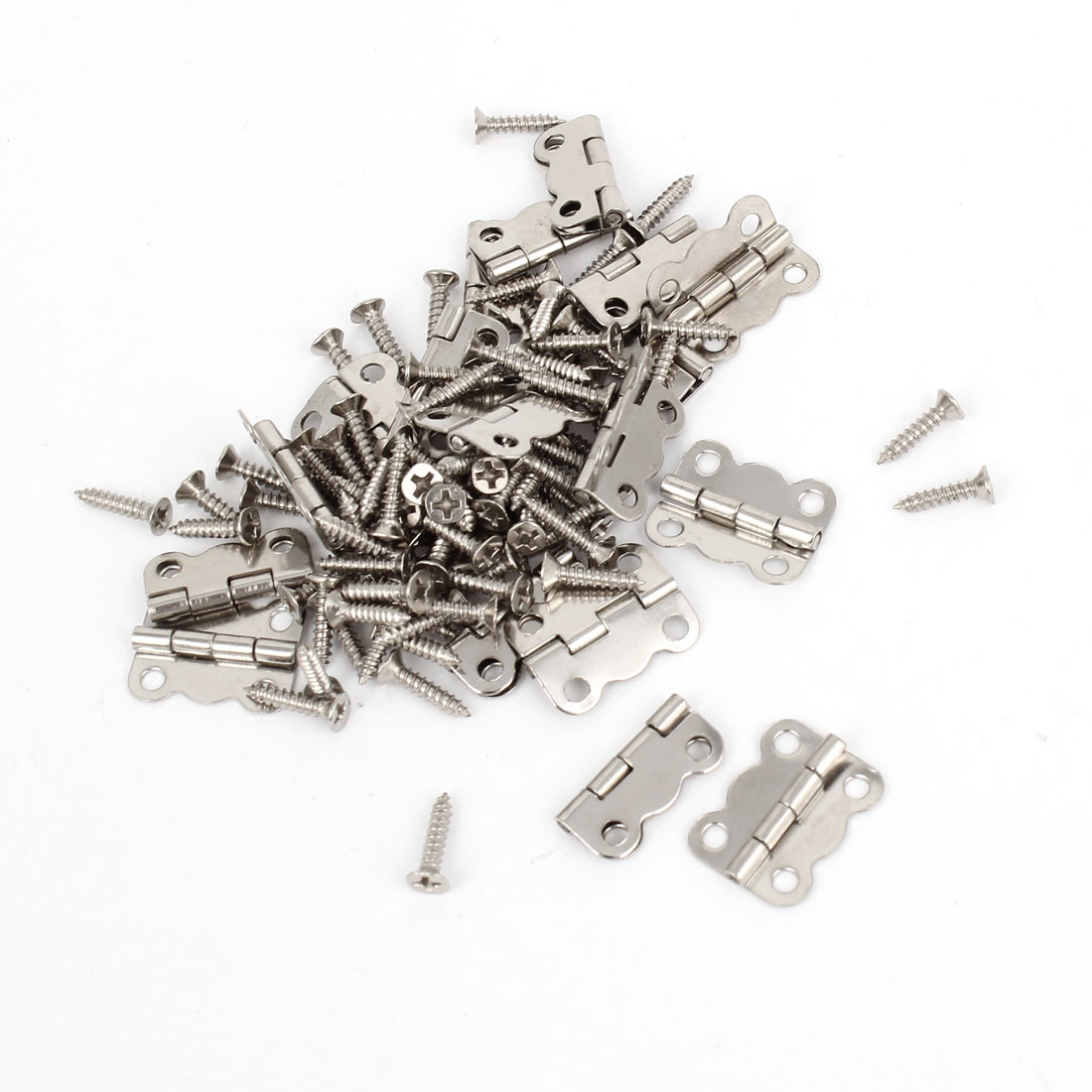 20 Pcs Silver Tone Rotatable Window Drawer Door Butt Hinges 16mm Long