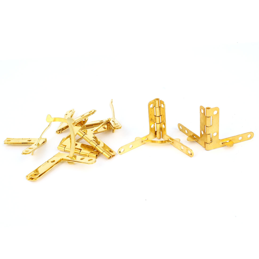 8 Pcs Gold Tone Foldable Cupboard Cabinet Window Drawer Gate Door Corner Butt Hinges w Screws