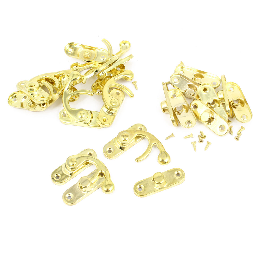 Left Latch Hook Antique Wood Box Catch Decorative Gold Tone 10 Pcs w Screws