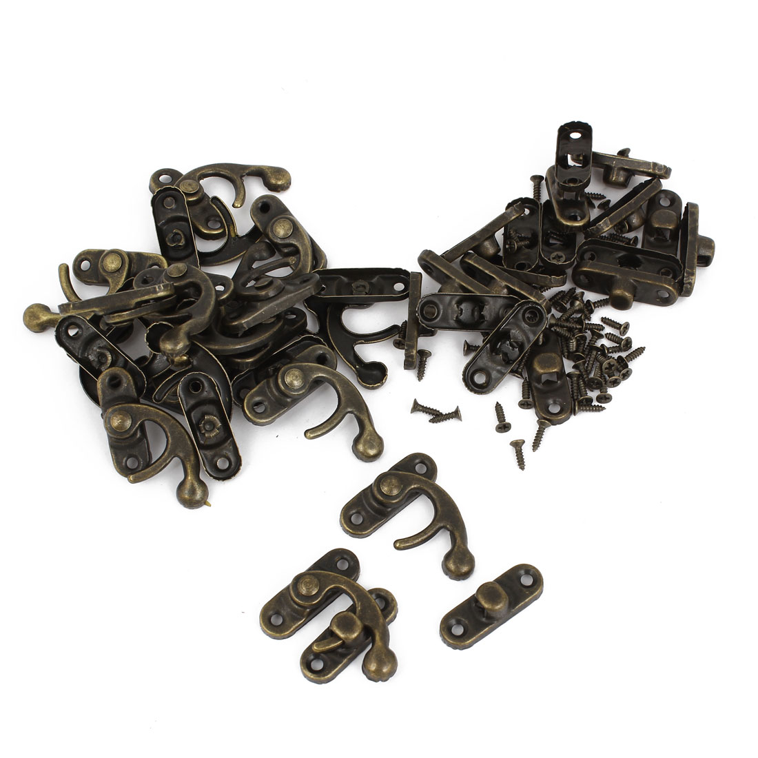Left Latch Hook Antique Wood Box Catch Decor Bronze Tone 20 Pcs w Screws
