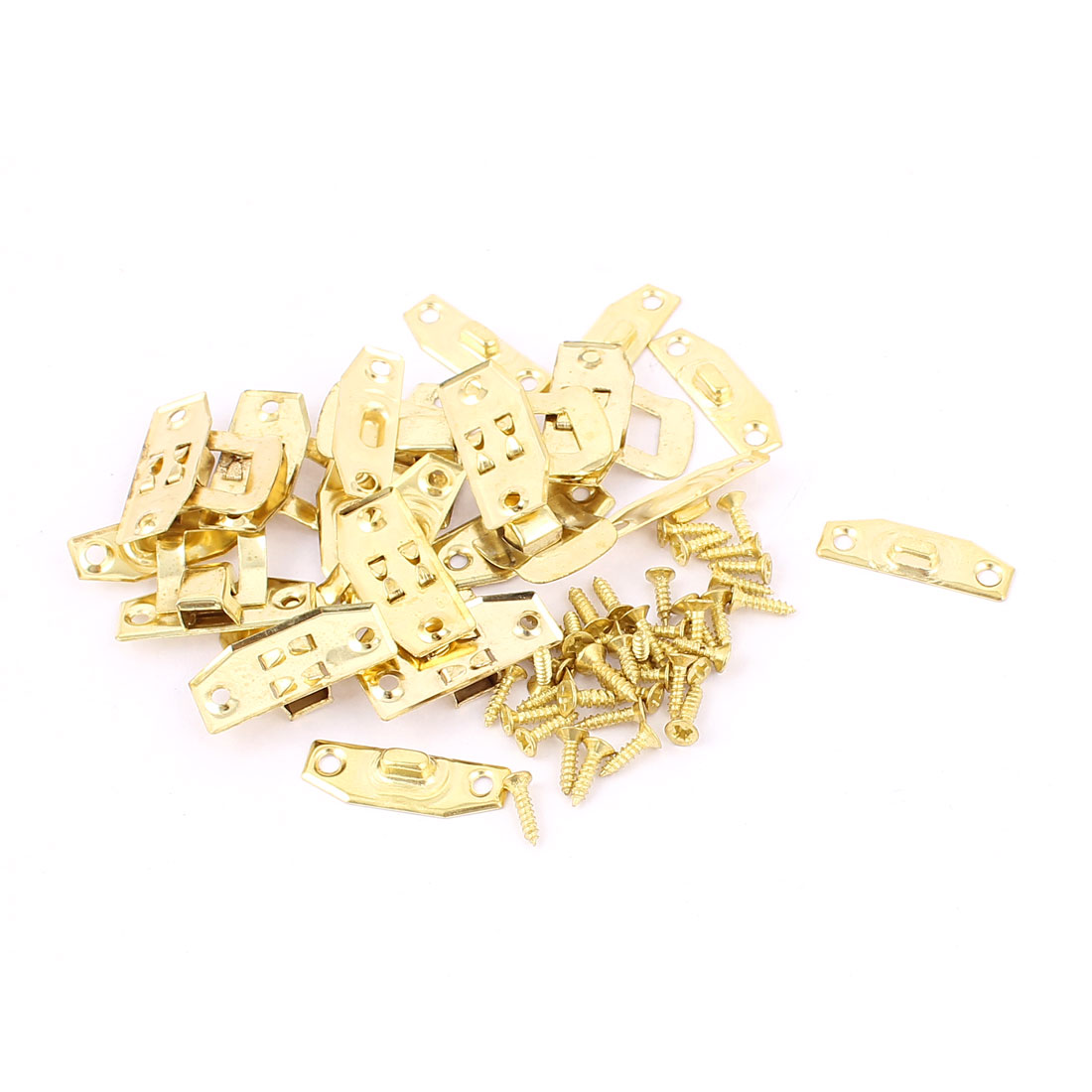 10 Pcs Antique Wood Jewelry Box Latch Sets Case Hasp Pad Chest Lock Hook Hinge Gold Tone w Screws