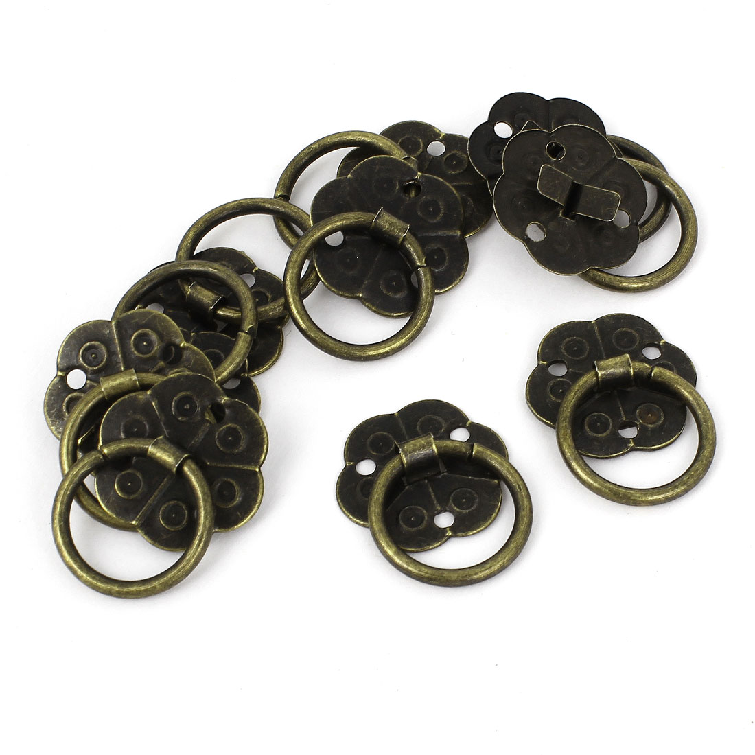 10pcs Home Jewelry Box Cabinet Door Pull Handle Ring Bronze Tone 18mm Dia