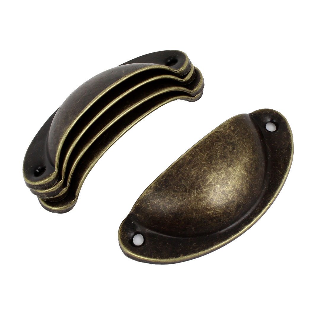 Home Vintage Style Drawer Door Pull Handle Bronze Tone 8cm Length 5 Pcs