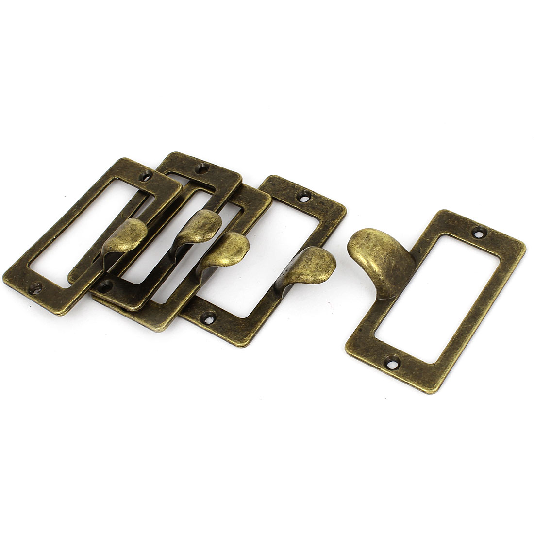 Home Cabinet Drawer Cupboard Door Label Style Pull Handle Bronze Tone 5 Pcs