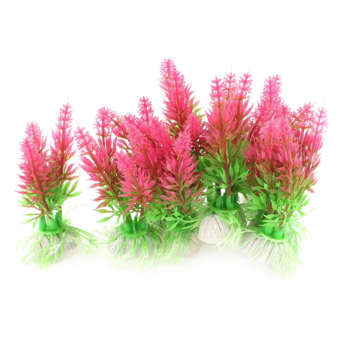 "3.7"" Height Green Red Aquarium Ornament Ceramic Base Underwater Grass Plants"
