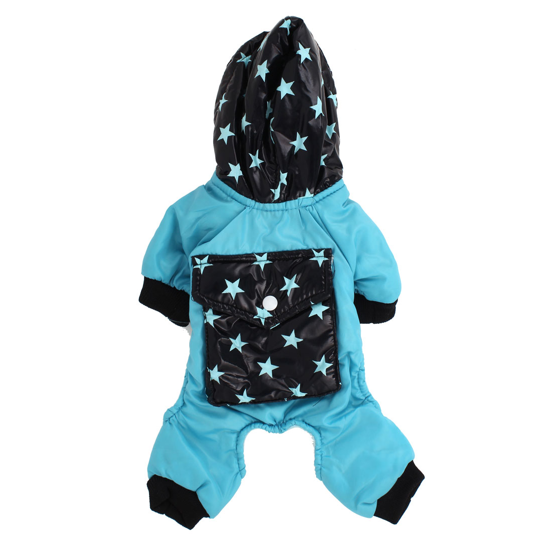 Pet Dog Doggy Pentagram Pattern Hooded Apparel Clothes Coat Blue Black Size XXS