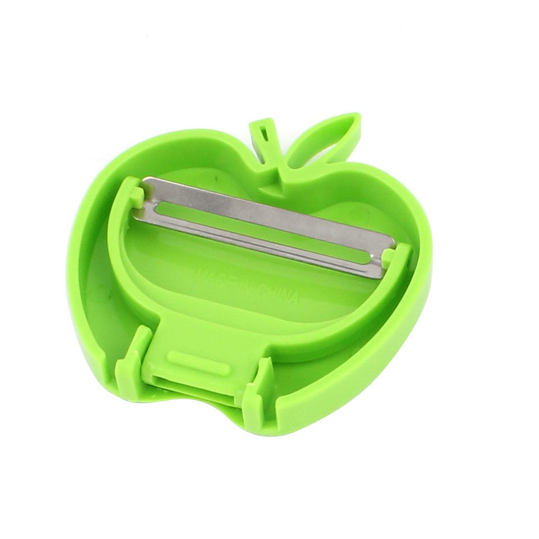 Kitchen Green Plastic Grip Stainless Steel Apple Shape Fruit Vegetable Peeler