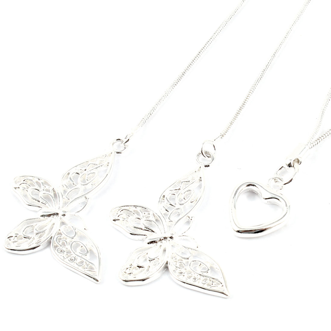 "Women Girl Hollow Out Butterfly Detail Pendant Necklace Silver Tone 18"" Long"