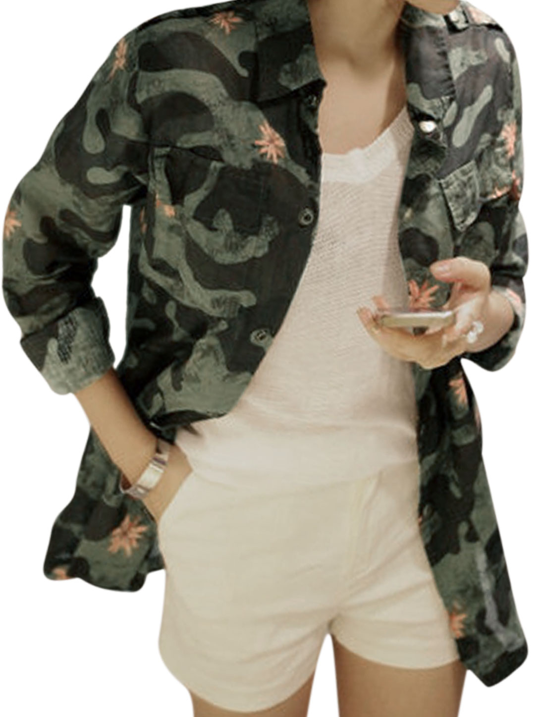 Lady All Over Camo Print Bust Flap Pockets Button-tab Epaulets Jacket Black Army Green M