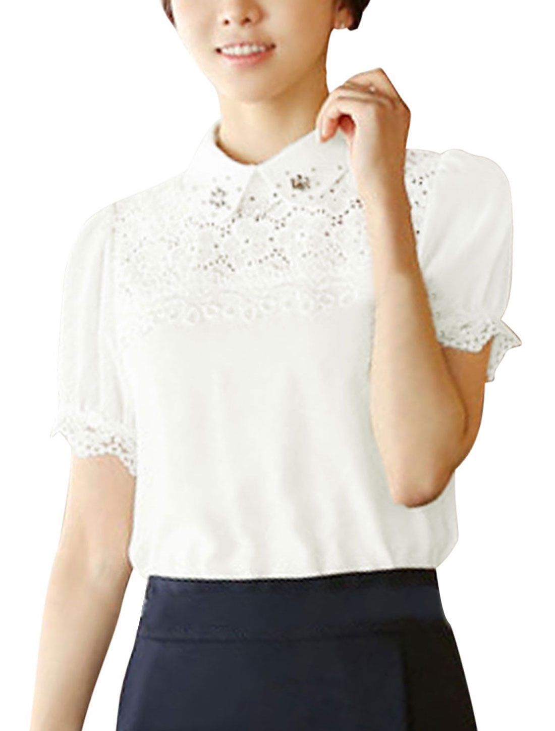 Ladies Peter Pan Collar White Short Sleeves Beads Decor Lace Splicing Shirt L