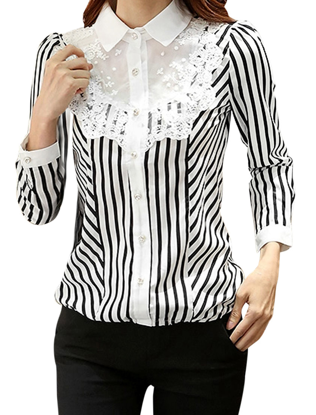Women Stripes Lace Panel Single Breasted Elastic Hem Shirt Black White L