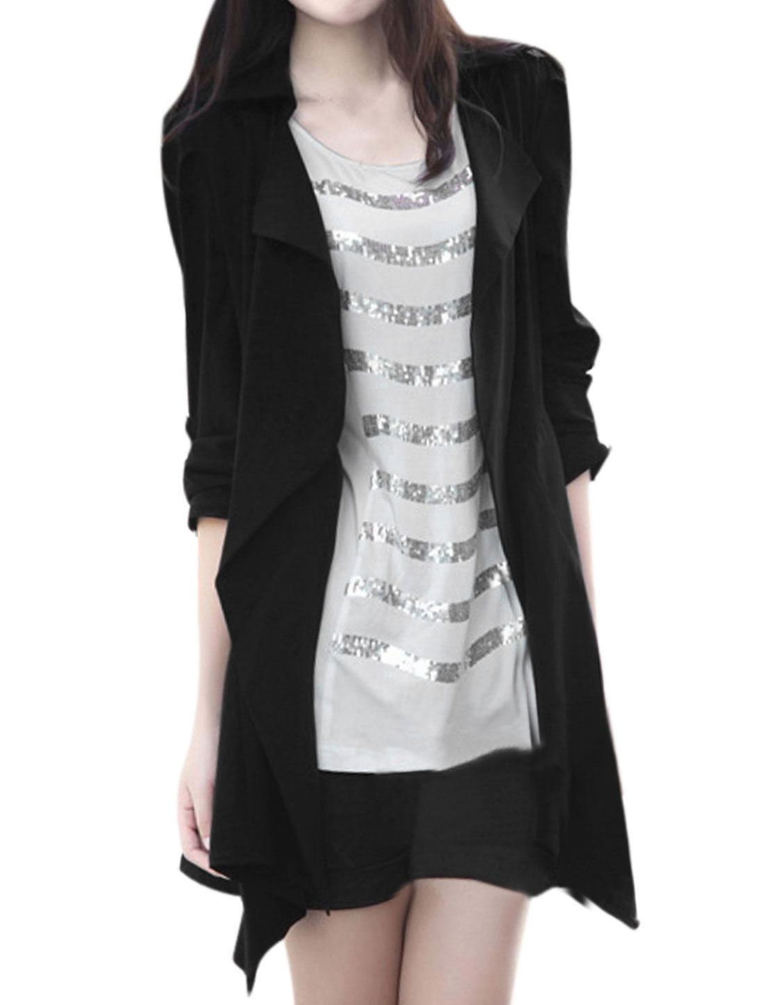 Women Turn Down Collar Long Sleeves Trench Jacket Black S